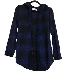 TNA hooded blue checker flannel